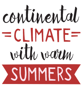 Continental climate with warm summers